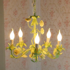 Melrose Pastoral Chandelier - Yellow 5 arms - Chandelier