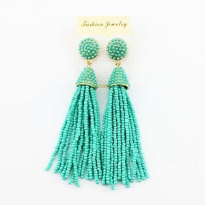 Molly Beaded Tassel Earrings - Turquoise / As Pictures - Earrings