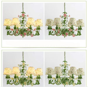 Rose Garden Chandelier - Pink Rose 8L Design / 21-30W - Cottage Chandelier