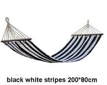 Striped Portable Hammock - Black White Stripes - Hammock
