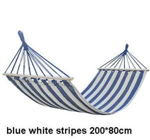 Striped Portable Hammock - Blue White Stripes - Hammock