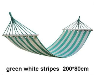 Striped Portable Hammock - Green White Stripes - Hammock