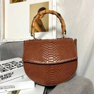 Sylvie Bamboo Handle Bag - Brown - Bag