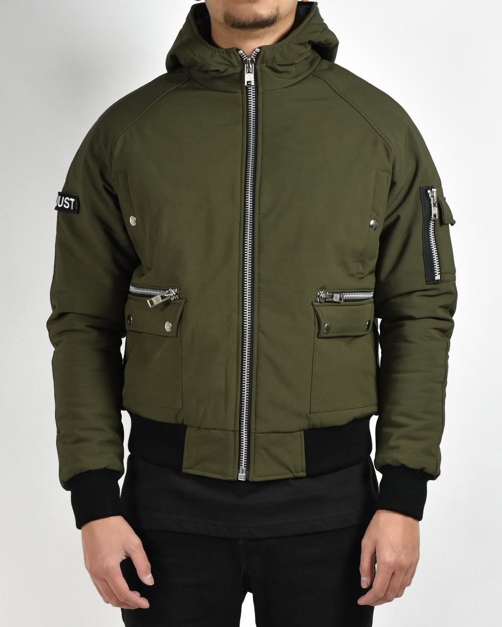 Army Green Hooded Bomber Jacket