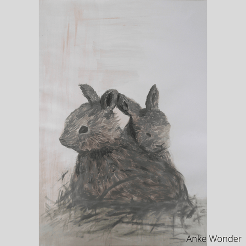 Bunnies together Painting by Anke Wonder.