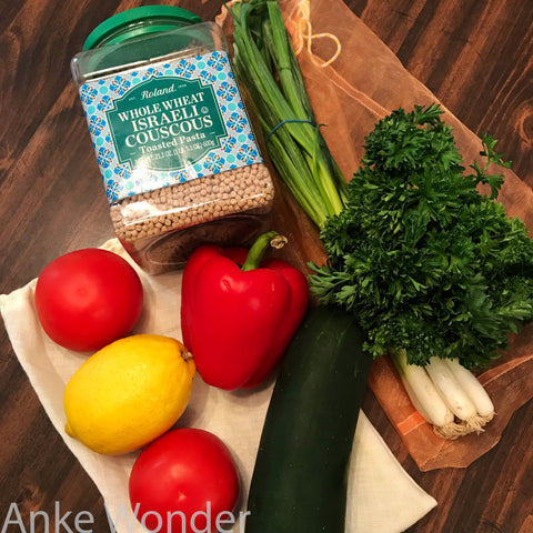 Fresh Ingredients for Couscous Salad Recipe.