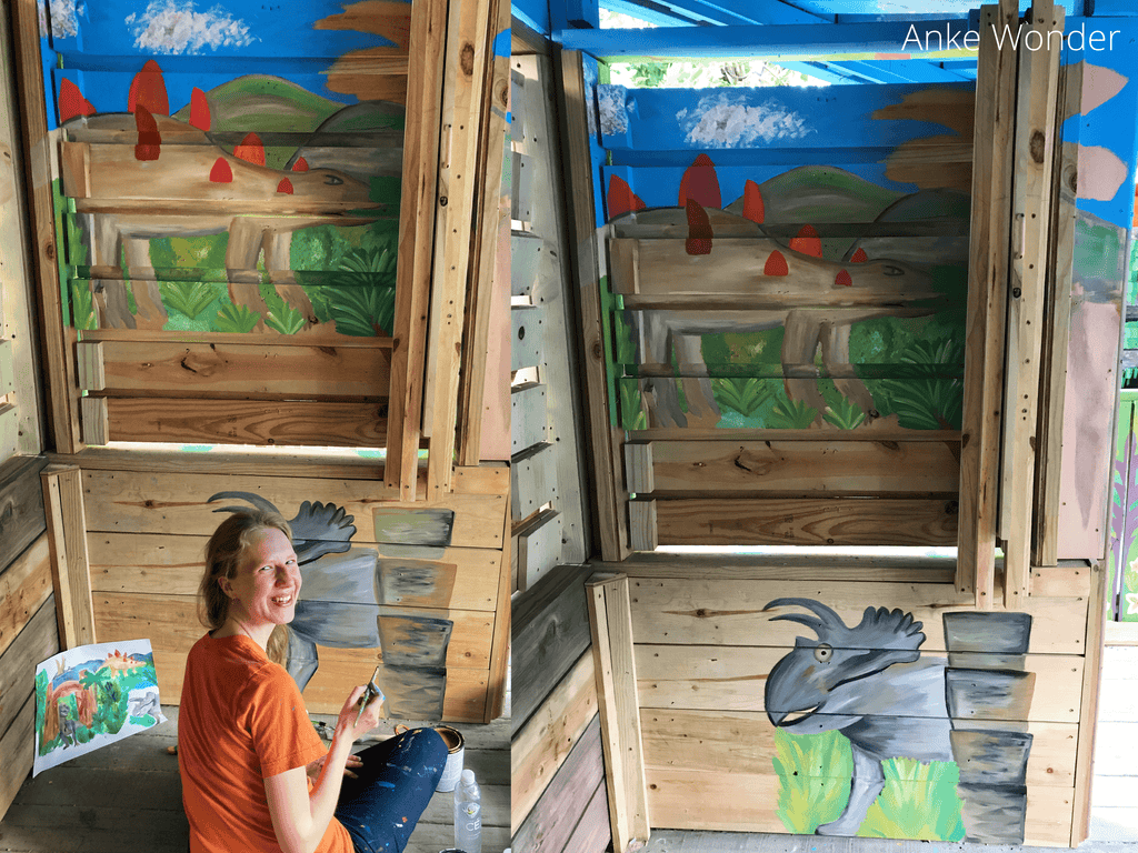Dinosaurs Mural with botanical garden background, mountains and clouds by Anke Wonder.