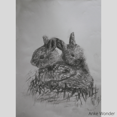 Paintings of Rabbits by Anke Wonder.