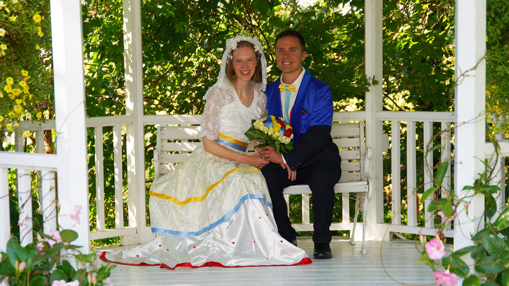 Brides dress and Grooms outfit made by Anke Wonder.