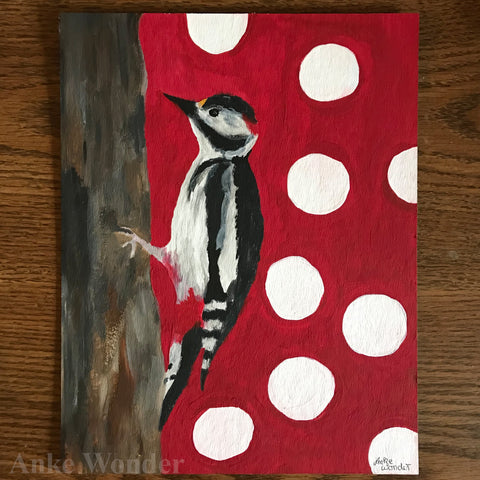 Painting of a woodpecker on a tree with red background and white dotes.