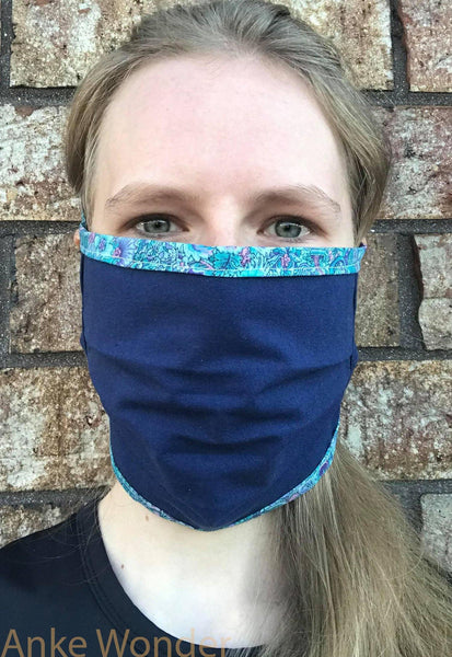 Reversible Blue Floral Face Mask | Free US shipping - Anke Wonder