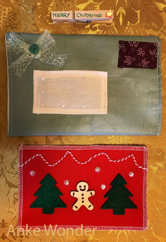 Fabric Christmas Card*Personalized Christmas Card | Free US shipping - Anke Wonder