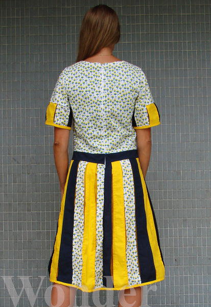 Women´s Yellow-Blue Stripe Dress - Anke Wonder