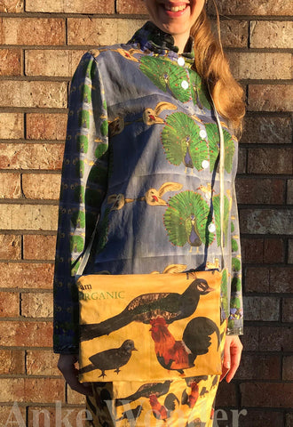 Reversible Women´s Fabric Handbag - Bird and Chicken - Anke Wonder