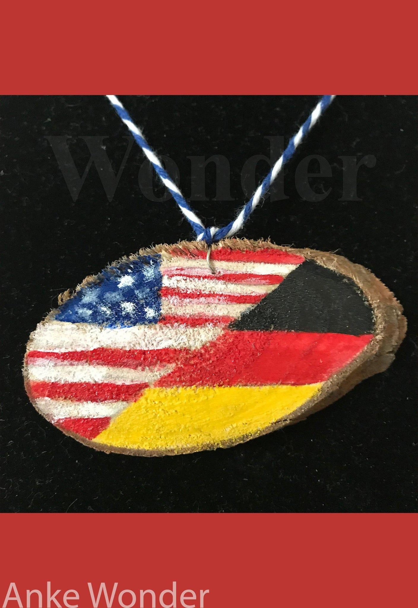 Wooden Necklace German/American Flag - Anke Wonder