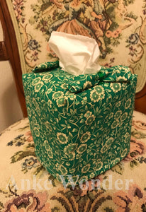 Green Flowery Square Tissue Box Cover - Anke Wonder