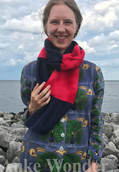 Bon Voyage Pink and Blue Fleece Scarf - Anke Wonder