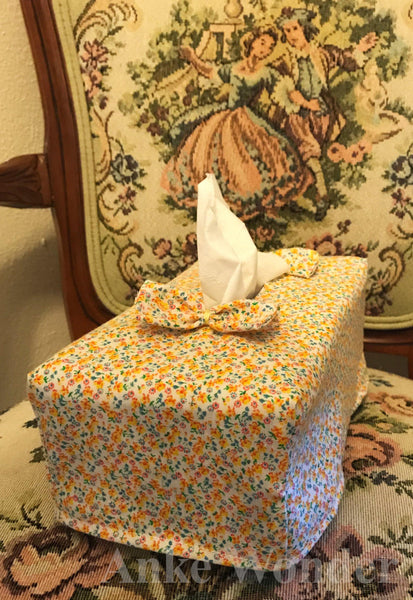 Flowery Cotton Rectangular Tissue Box Cover - Anke Wonder