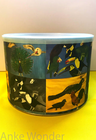 "Round metal box with plastic lid ""4-in-1"" Birds Design - Anke Wonder"