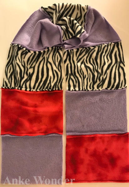 Women´s Fleece Scarf - Purple, Pink, Tiger-Patterned - Anke Wonder