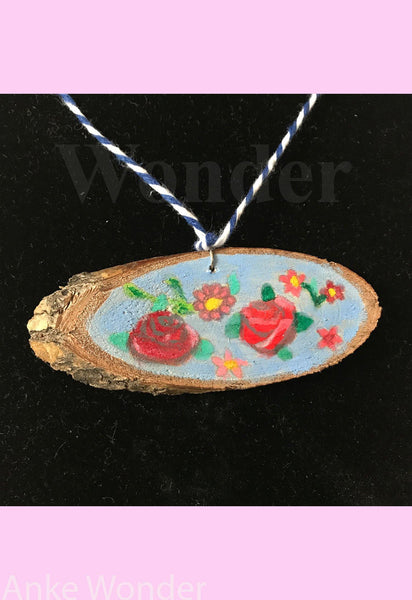 Handpainted Wooden Necklace Roses - Anke Wonder