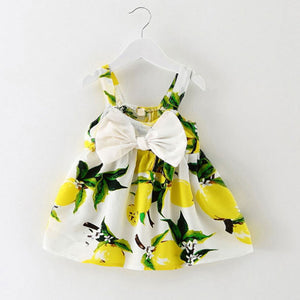 Infant baby sleeveless print bow dress
