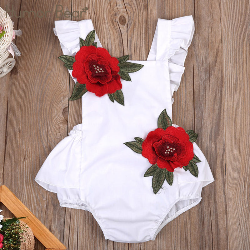 Fashion Embroidered Rose Baby Clothing Sets