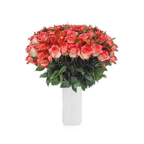 Home Perfect BiColor Roses & Alstroemerias Bouquet (36 Roses + 14 Alstroemerias) - Bloomsfully Wholesale Flowers