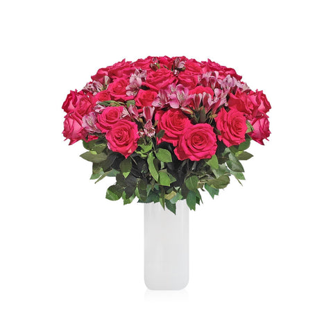 Home Perfect Hot Pink Roses & Alstroemerias Bouquet (36 Roses + 14 Alstroemerias) - Bloomsfully Wholesale Flowers