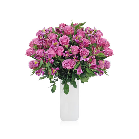 Home Perfect Lavender Roses & Alstroemerias Bouquet (36 Roses + 14 Alstroemerias) - Bloomsfully Wholesale Flowers