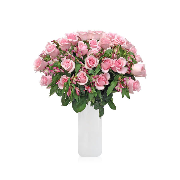 Home Perfect Light Pink Roses & Alstroemerias Bouquet (36 Roses + 14 Alstroemerias) - Bloomsfully Wholesale Flowers