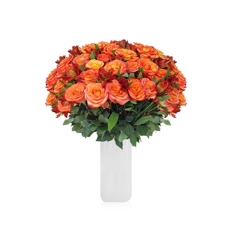 Home Perfect Orange Roses & Alstroemerias Bouquet (36 Roses + 14 Alstroemerias) - Bloomsfully Wholesale Flowers