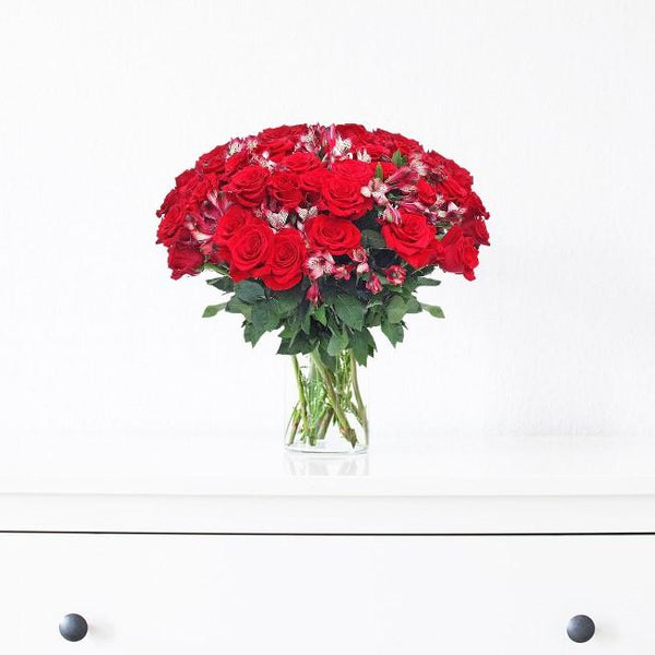 Home Perfect Roses & Alstroemerias Red Bouquet (36 Roses + 14 Alstroemerias) - Bloomsfully Wholesale Flowers