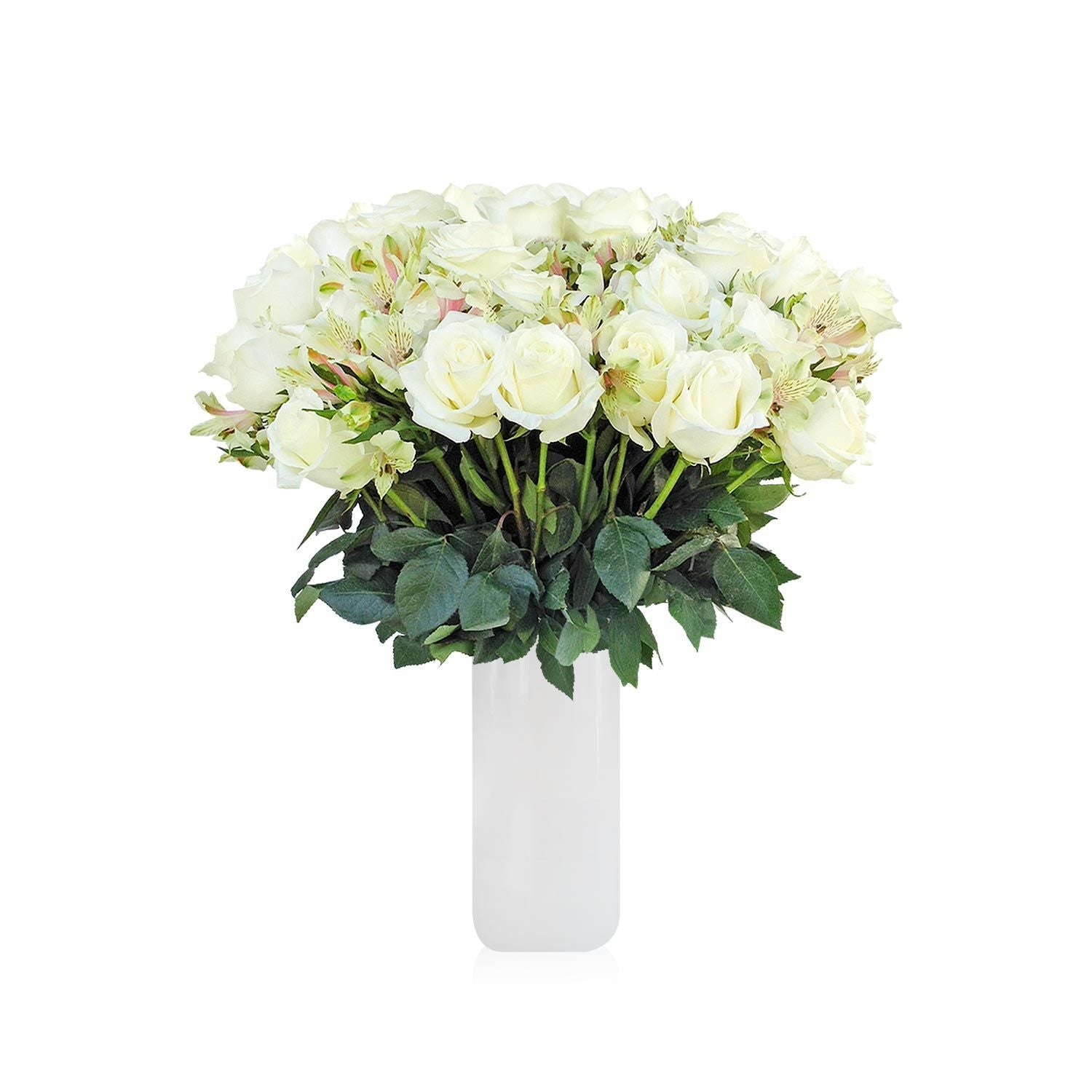Home Perfect White Roses & Alstroemerias Bouquet (36 Roses + 14 Alstroemerias) - Bloomsfully Wholesale Flowers