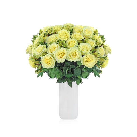 Home Perfect Yellow Roses & Alstroemerias Bouquet (36 Roses + 14 Alstroemerias) - Bloomsfully Wholesale Flowers