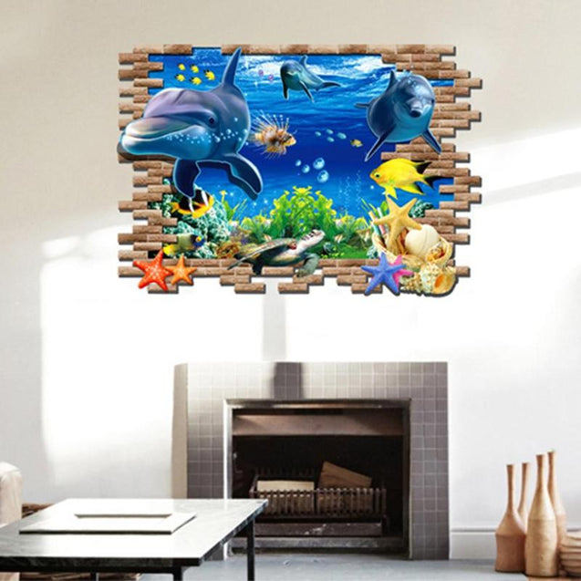 3D Wall Sticker Undersea World Dolphin - Narvay.com