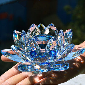 Crystal Lotus Flower Crafts Glass Paperweight