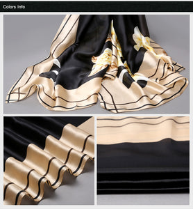 Long Shawls Gold Printing Silk Scarf