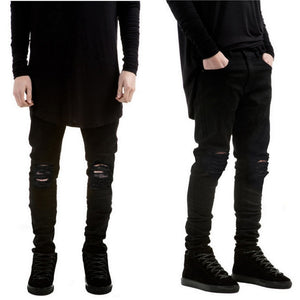 Black Ripped Jeans Men With Holes Denim