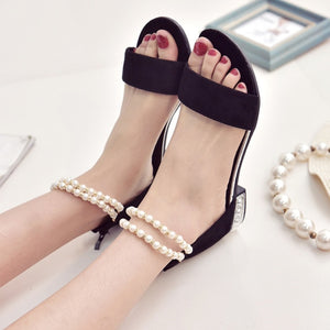 Women Simple Upper One Band Pearls Beading sandles