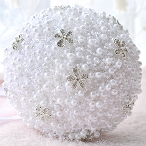 Holding Flower Crystal Beading Pearl Wedding
