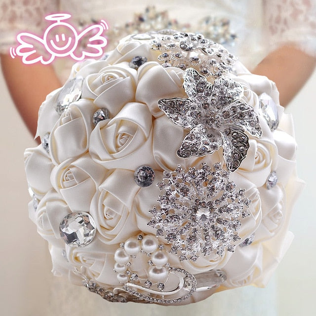 Bouquet Luxury Satin Rose Flowers with Crystal