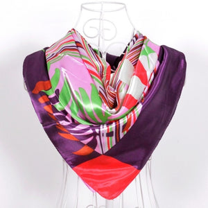 Women Large Square Silk Scarf Printed