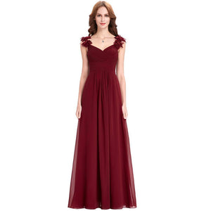 Long Chiffon Applique Prom Dresses - Narvay.com
