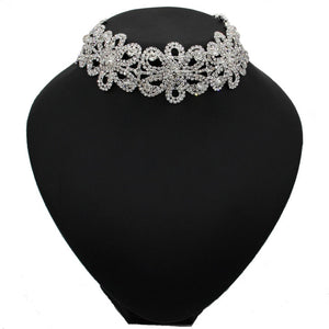 Rhinestones Flower Chokers Necklaces Women