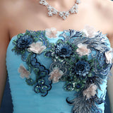 Strapless Sleeveless Sexy Slim Lace Flower Long Prom