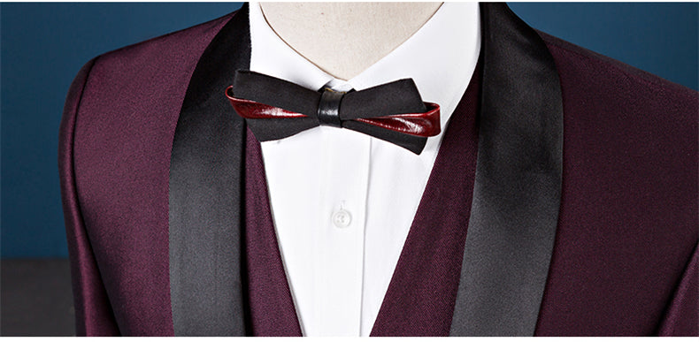 Shawl Collar 3 Pieces Slim Fit Burgundy Suit