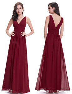 V Burgundy Elegant Long Formal Wedding