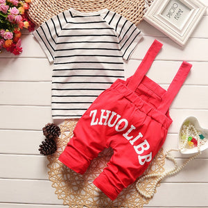 clothes sets kids bib boys summer
