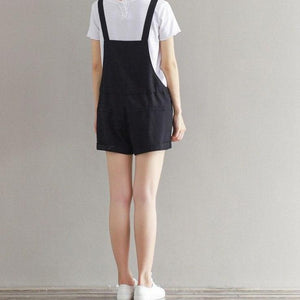 Overalls Casual Pockets Loose Short